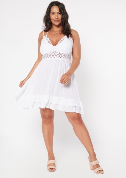 plus white crochet ruffle dress - Main Image