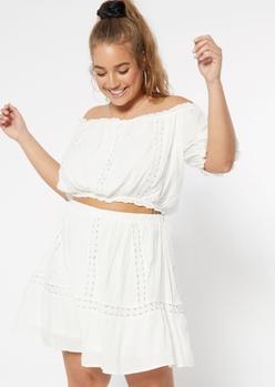 plus white swiss dot off the shoulder top crochet skirt set - Main Image