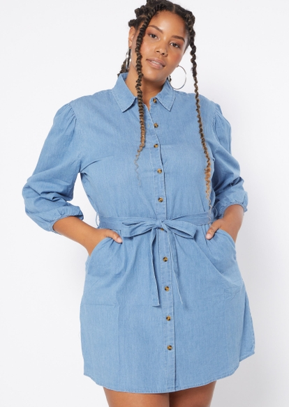 plus denim button front jean dress - Main Image