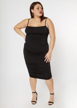 plus black ruched midi dress - Main Image