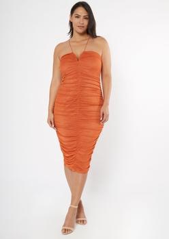 plus burnt orange ruched midi dress - Main Image