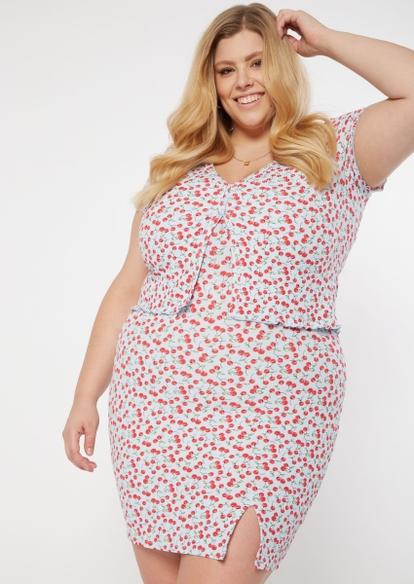 plus two-piece cherry print cardigan dress set - Main Image