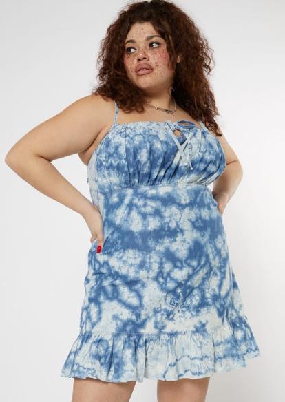 plus tie dye denim ruched mini dress - Main Image