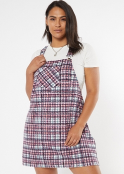 plus pink plaid pocket skirtall dress - Main Image