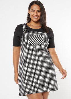 plus houndstooth pocket skirtall dress - Main Image