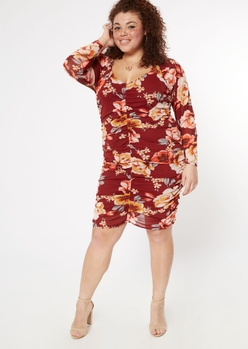 plus burgundy floral print ruched mesh dress - Main Image