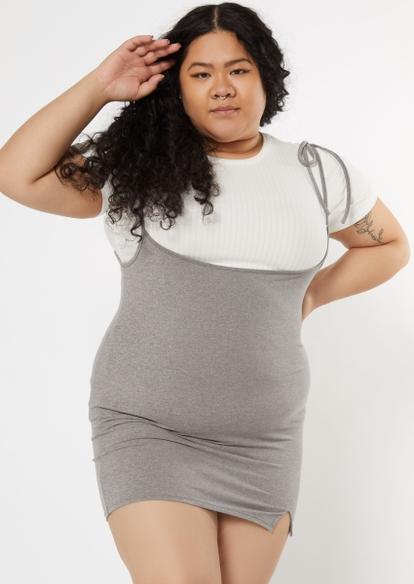 plus gray tie shoulder bodycon pinafore dress - Main Image