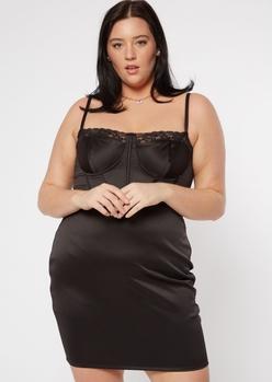 plus black satin lace trim corset top mini dress - Main Image