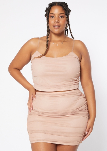 plus two piece beige ruched mesh overlay skirt and cami set - Main Image