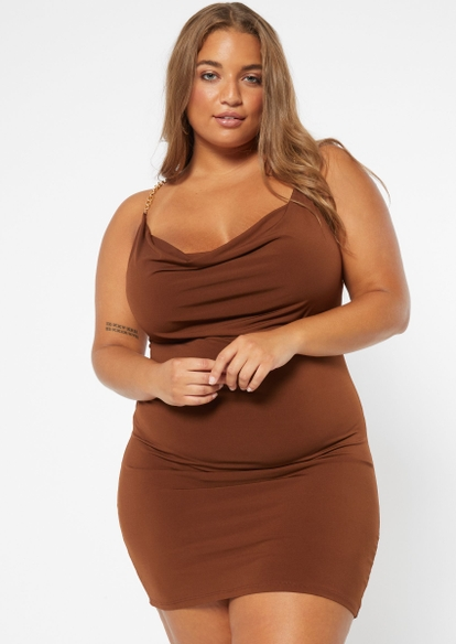 plus brown ruched chain back dress - Main Image