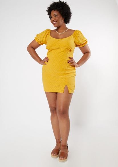 plus yellow puff sleeve eyelet dress - Main Image