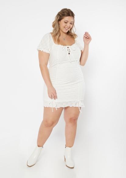 plus white eyelet puff sleeve double ruched dress - Main Image