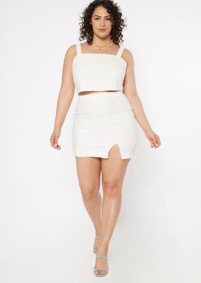plus white eyelet knit skirt set - Main Image
