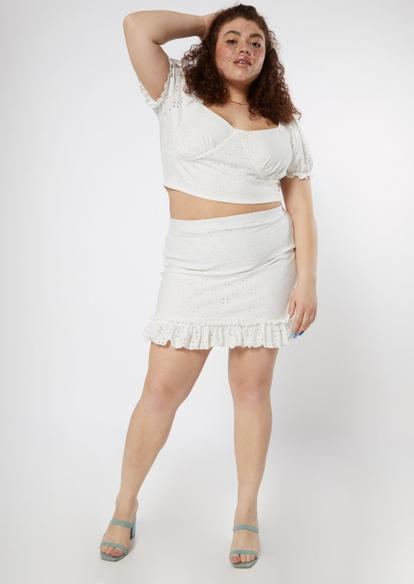 plus white eyelet crop top ruffle skirt set - Main Image