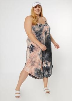 plus pink tie dye harem jumpsuit - Main Image