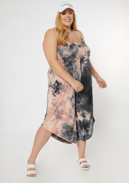 plus mauve tie dye harem jumpsuit - Main Image