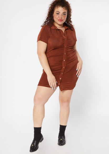 plus brown ruched button front polo dress - Main Image