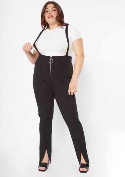 plus black o ring zip suspender jumpsuit 2-piece set - Main Image