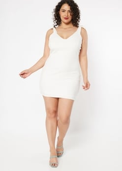 plus white ribbed knit tied shoulder strap dress - Main Image