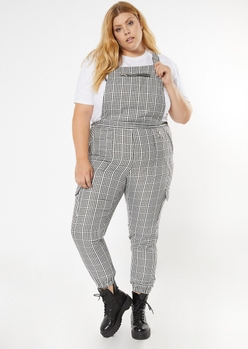 plus black gingham plaid zipper pocket overalls - Main Image