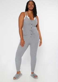 plus heather gray buttoned super soft hacci jumpsuit - Main Image