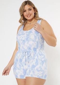 plus blue tie dye henley romper - Main Image