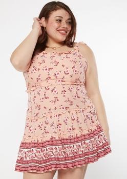 plus coral pink border print tie shoulder mini dress - Main Image