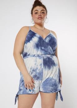 plus navy tie dye super soft surplice romper - Main Image