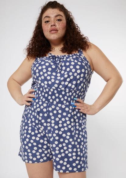 plus navy daisy print super soft smock waist romper - Main Image