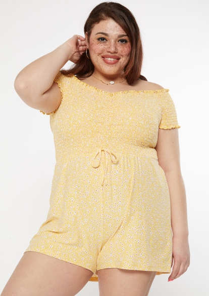 plus yellow ditsy floral print ruched smocked romper - Main Image