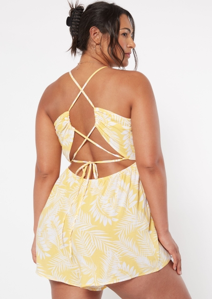 plus yellow pink palm tree print tied back romper - Main Image