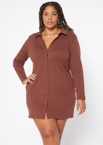 plus brown button front polo dress - Main Image
