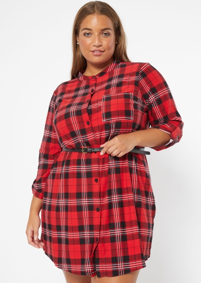 plus red plaid belted long sleeve shirt dress - Main Image