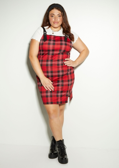 plus red plaid faux leather strap mini dress - Main Image