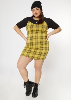 plus yellow plaid print mini dress - Main Image