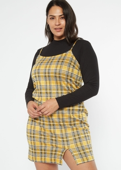 plus yellow plaid mini slip dress - Main Image
