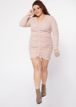 plus pink ruched front long sleeve dress - Main Image