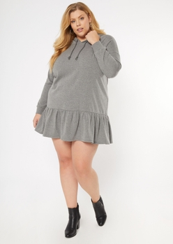 plus heather gray drop waist hoodie dress - Main Image