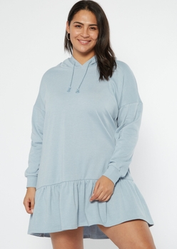 plus blue drop waist hoodie dress - Main Image