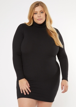 plus black turtleneck mask dress - Main Image