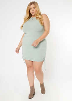 plus sage green ruched side mini dress - Main Image
