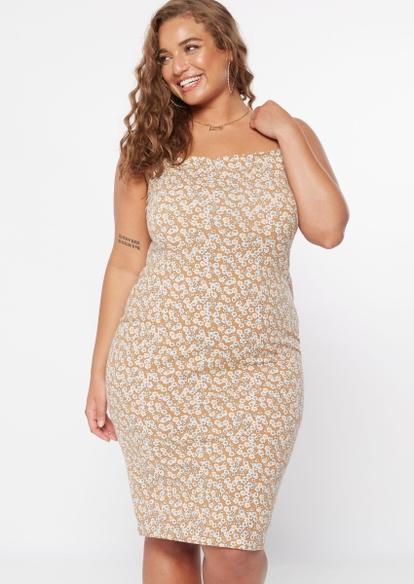 plus brown floral print bodycon dress - Main Image