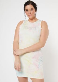 plus tie dye angel rhinestone ribbed dress - Main Image