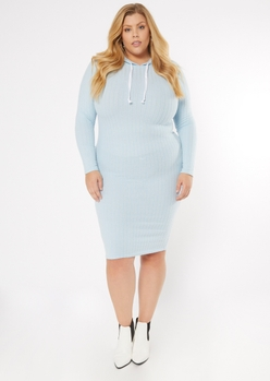 plus light blue ribbed knit midi hoodie dress - Main Image