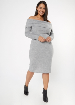 plus gray off the shoulder hacci knit midi dress - Main Image