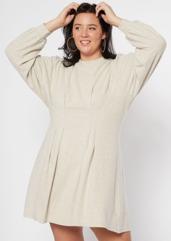 plus oatmeal heather corset waist hacci knit dress - Main Image