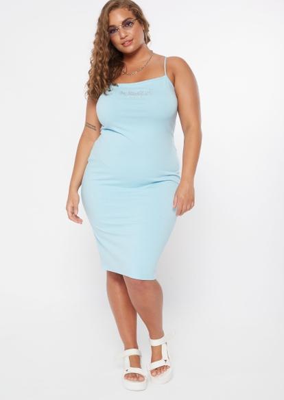 plus blue rhinestone butterfly square neck midi dress - Main Image