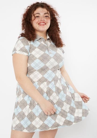 plus argyle print pleated polo mini dress - Main Image