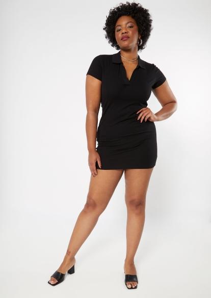 plus black v neck polo dress - Main Image