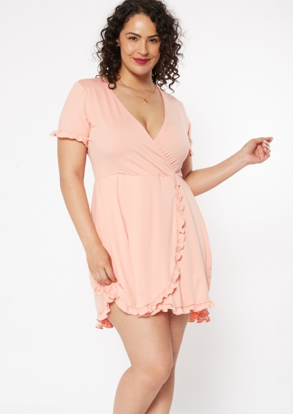 plus pink floral print flounce wrap dress - Main Image